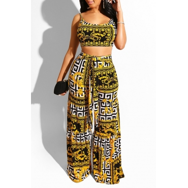 Lovely Casual U Neck Printed Yellow Two-piece Pants Set