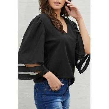 Lovely Stylish V Neck Patchwork Black Blouse