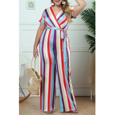 Lovely Bohemian V Neck Striped Plus Size One-piece Jumpsuit