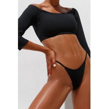 Lovely Off The Shoulder Black Two-piece Swimwear