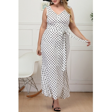 Lovely Stylish V Neck Dot Printed White Ankle Length A Line Plus Size Dress