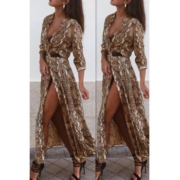 Lovely Stylish Snakeskin Pattern Printed Khaki Ankle Length Dress