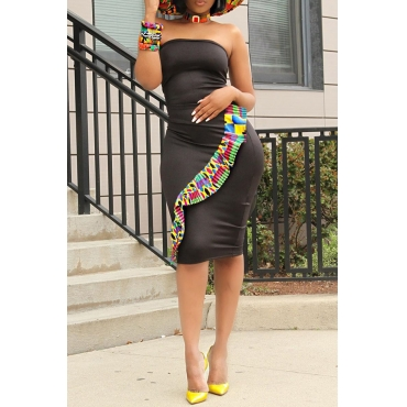 Lovely Stylish Off The Shoulder Printed Patchwork Black Knee Length Dress