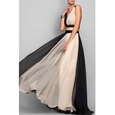 Lovely Stylish V Neck Patchwork Black Floor Length A Line Prom Dress