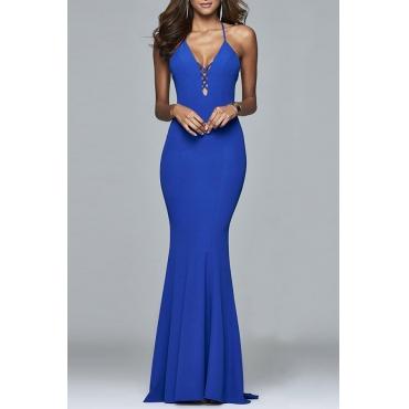 Lovely Sexy V Neck Spaghetti Straps Backless Blue Floor Length Dress