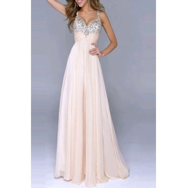 Lovely Stylish V Neck Sequins Splicing Light Pink Floor Length Prom Dress