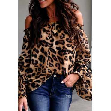Lovely Stylish Off The Shoulder Leopard Printed Blouse