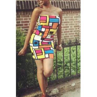 Lovely Casual Off The Shoulder Printed Multicolor Mini Dress