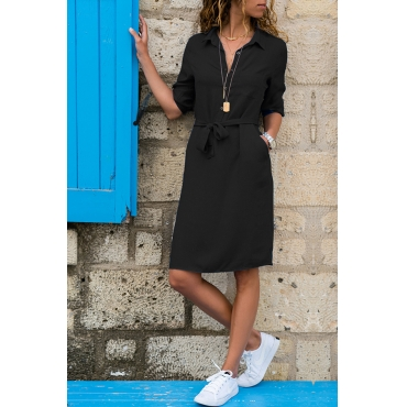 Lovely Casual Turndown Collar Buttons Design Lace-up Black Knee Length OL Dress
