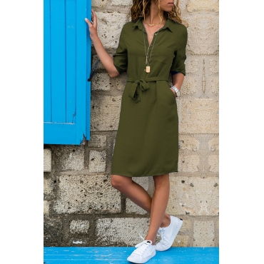 Lovely Casual Turndown Collar Buttons Design Lace-up Green Knee Length OL Dress