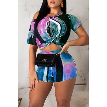 Lovely Casual One Shoulder Striped Multicolor Two-piece Shorts Set