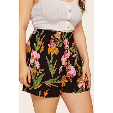 Lovely Bohemian Floral Printed Black Cotton Plus Size Shorts