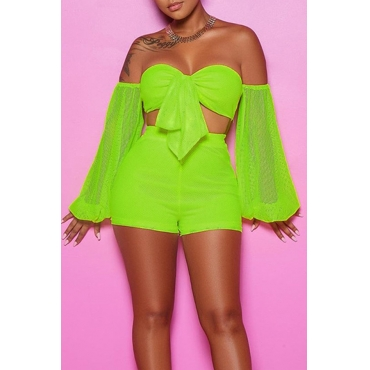 Lovely Sexy Off The Shoulder Green Two-piece Shorts Set