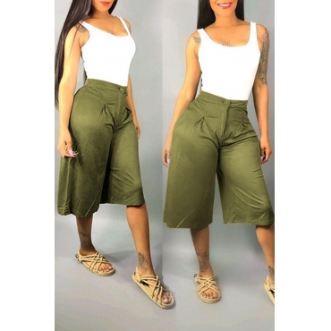 Lovely Casual High Waist Army Green Loose Shorts