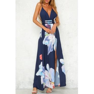 Lovely Stylish Printed Split Multicolor Ankle Length Dress