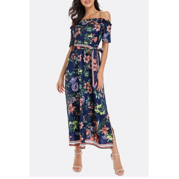 Lovely Bohemian Off The Shoulder Floral Printed Deep Blue Mid Calf Dress