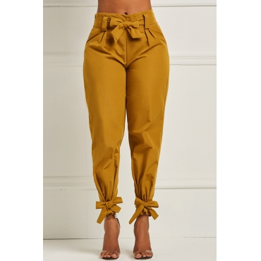 Lovely Stylish High Waist Bow-tie Decoration Yellow Pants
