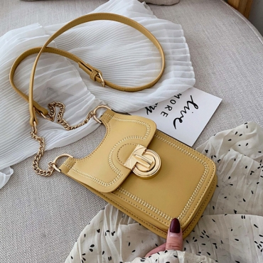 Lovely Stylish Patchwork Yellow PU Messenger Bag