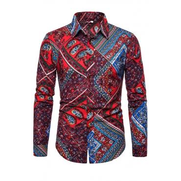 Lovely Stylish Turndown Collar Printed Red Shirt