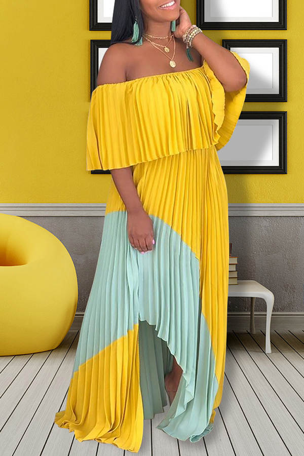 Lovely Stylish Off The Shoulder Patchwork Yellow Floor Length Maxi Dress