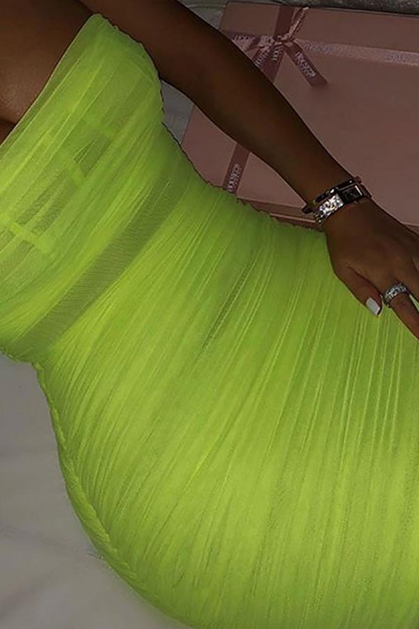Lovely Sexy Square Collar Spaghetti Straps Green Mini Dress