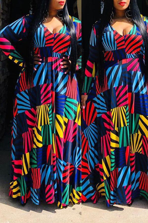 Lovely Bohemian V Neck Geometric Printed Dark Blue Floor Length A Line Plus Size Dress