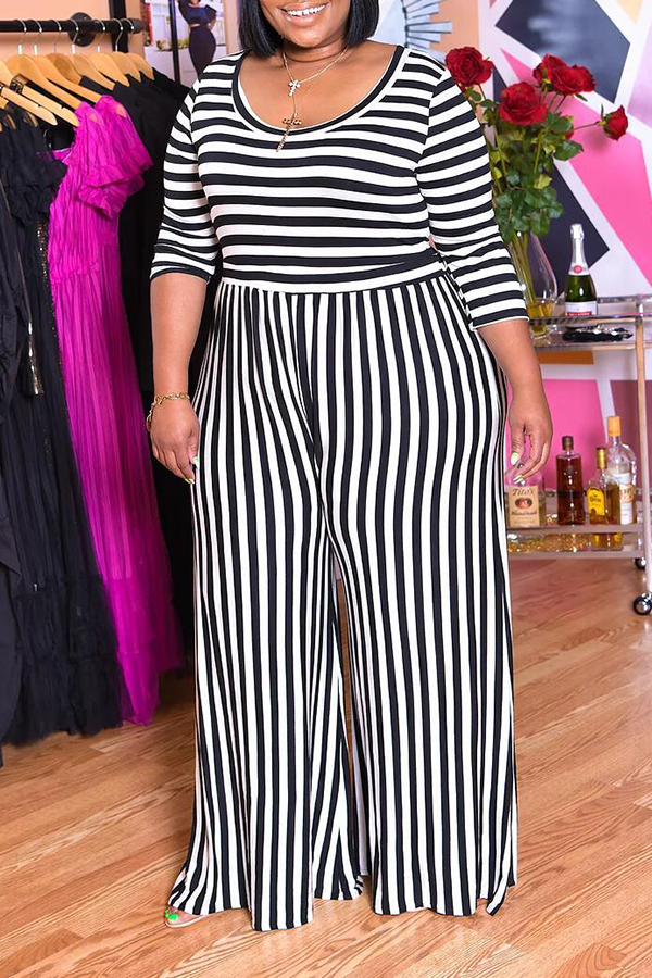 Lovely Casual V Neck Striped Multicolor Plus Size One-piece Jumpsuit(Without Belt)