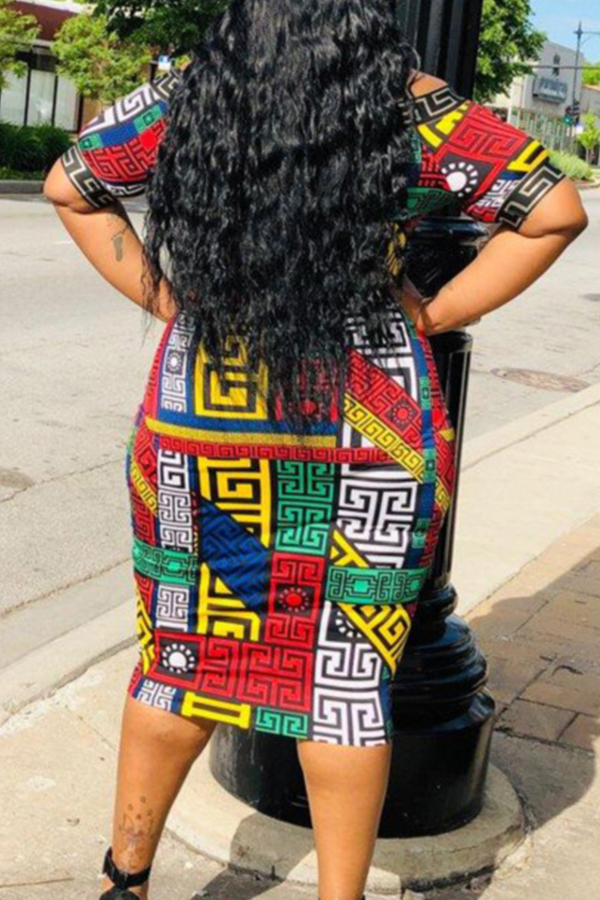 Lovely Casual Off The Shoulder Geometric Printed Multicolor Knee Length Plus Size Dress