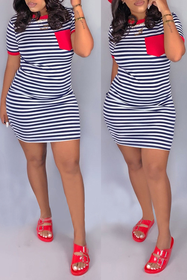 Lovely Casual O Neck Striped Patchwork Red Mini Dress