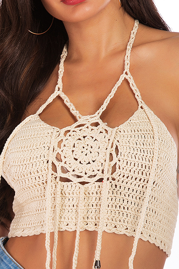 Lovely Sexy Halter Neck Hollow-out Apricot Tank Top