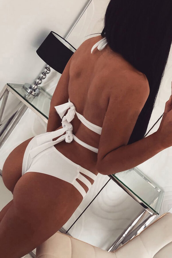 Lovely Hollow-out White Two-piece Swimwear