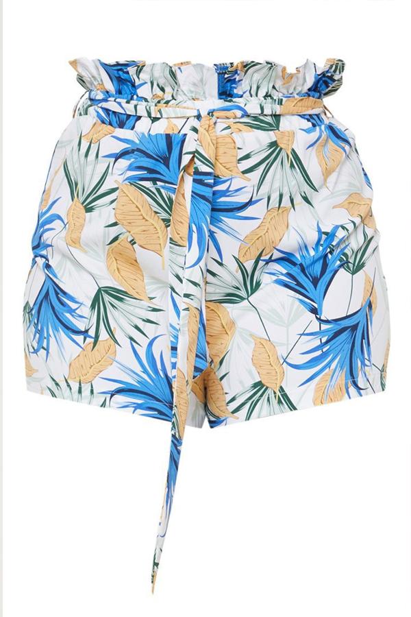 Lovely Bohemian V Neck Printed Ruffle Blue Plus Size Shorts