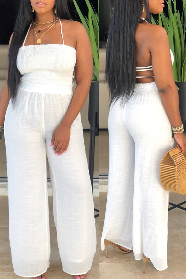 Lovely Sexy Halter Neck Backless White One-piece Jumpsuit