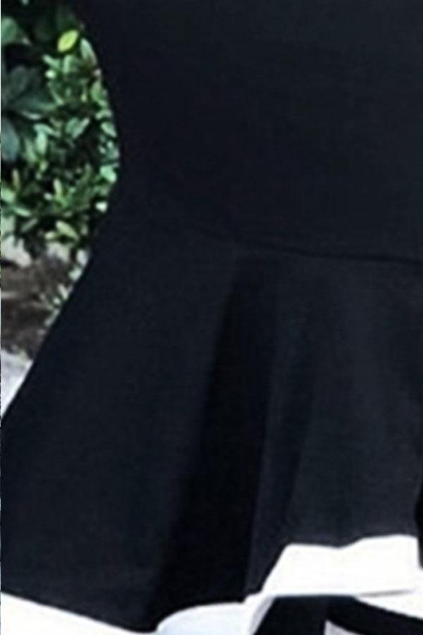 Lovely Sweet Ruffle Patchwork Black Mid Calf Skirt