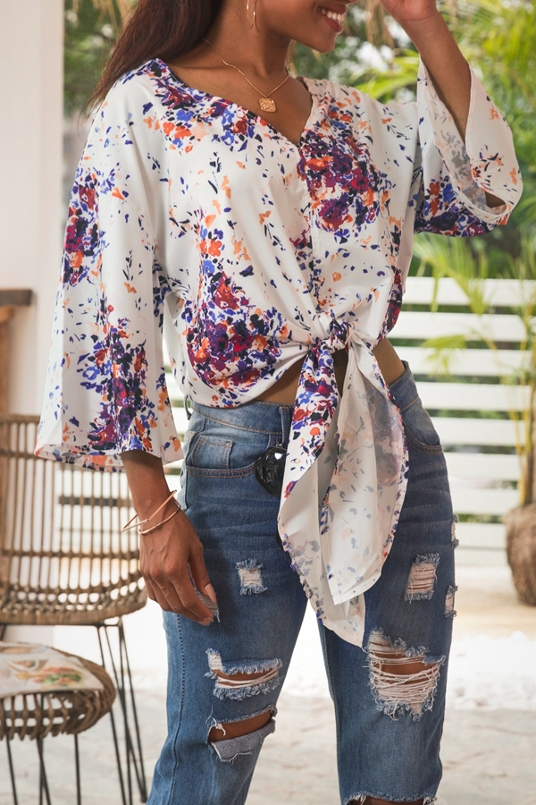 Lovely Bohemian Printed Knot Design Multicolor Shirts