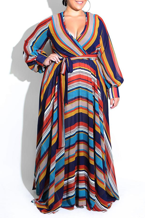 Lovely Bohemian Striped Dark Blue Floor Length Dress