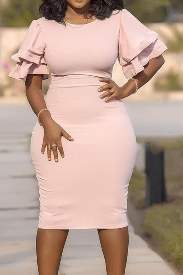 Lovely Casual O Neck Ruffle Pink Knee Length Plus Size Dress