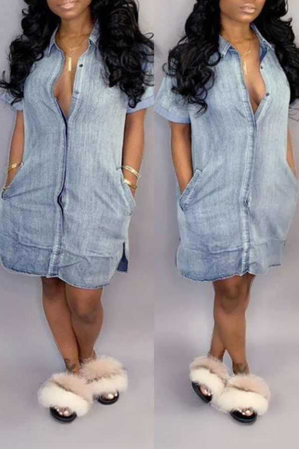 Lovely Casual Turndown Collar Buttons Design Baby Blue Denim Mini Dress