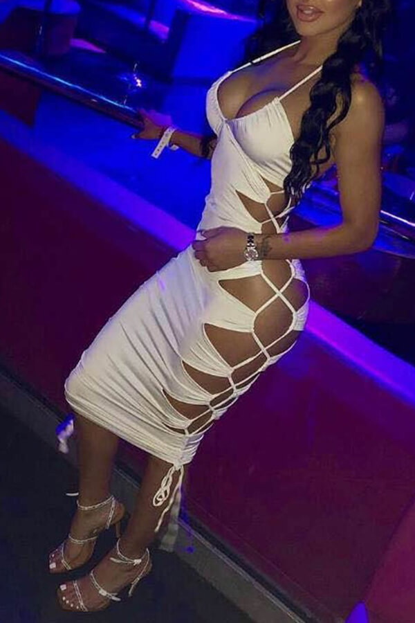 Lovely Sexy Spaghetti Straps Hollow-out White Mid Calf Dress