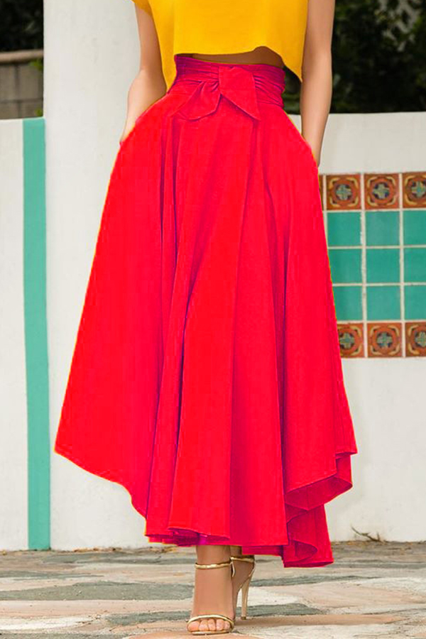 Lovely Sweet High Waist Red Ankle Length A Line Skirt