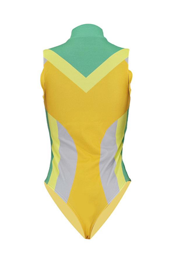 Lovely Patchwork Zipper Design Yellow One-piece Swimwear