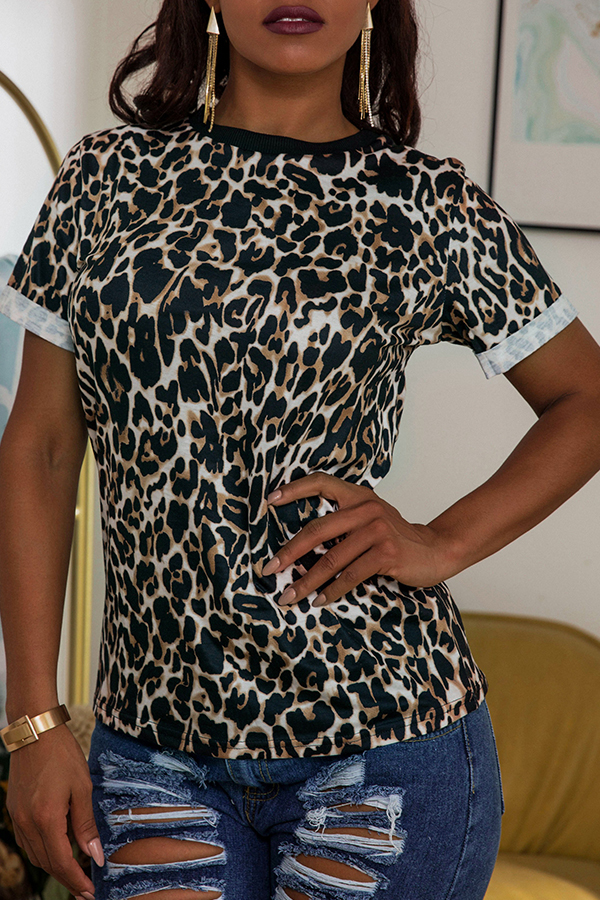 Lovely Casual O Neck Leopard Printed Blouse