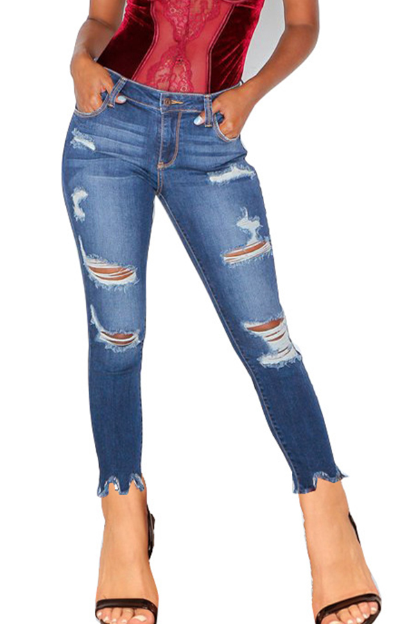 Lovely Casual Mid Waist Broken Holes Deep Blue Jeans