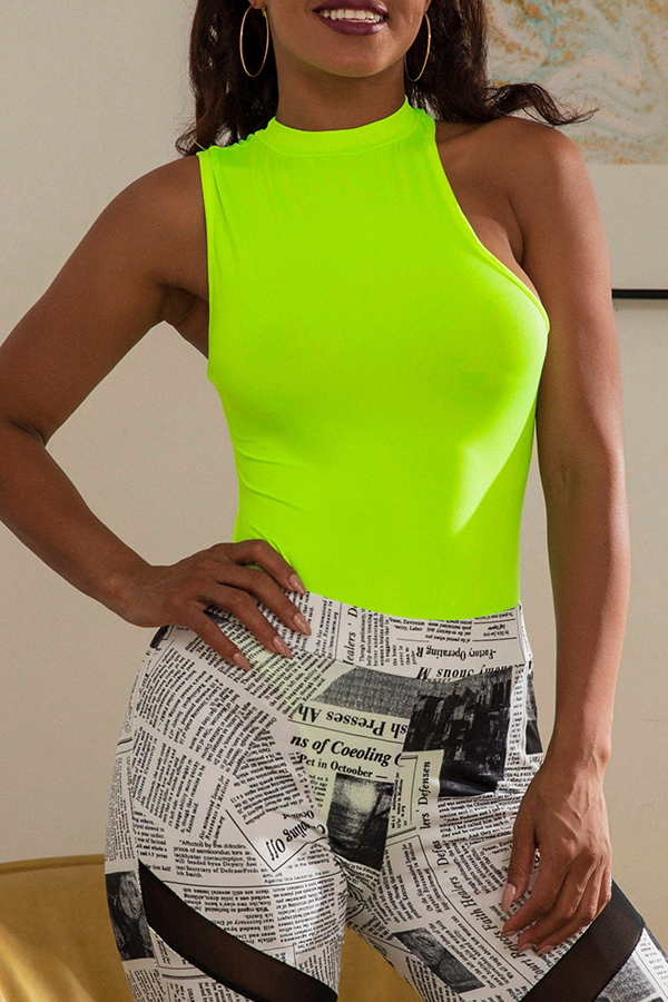 Lovely Casual O Neck Hollow-out Green Tank Top