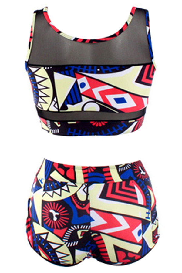 Lovely Charming Round Neck Printed  Two-piece Swimwear
