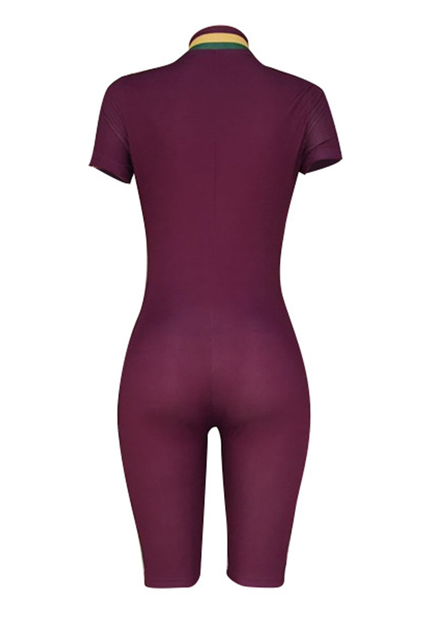 Lovely Casual V Neck Patchwork Purple One-piece Romper