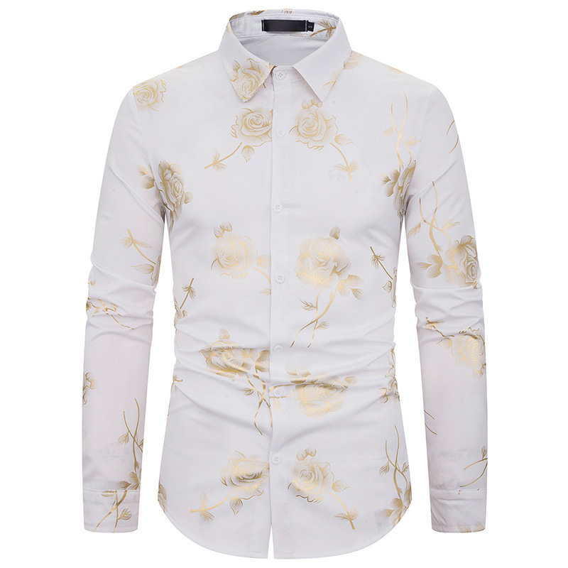 Lovely Stylish Rose Printed White Shirt