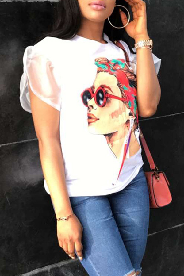 Lovely Casual O Neck Printed Gauze Patchwork White T-shirt