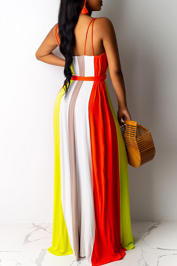 Lovely Casual Spaghetti Straps Striped Red Floor Length Printed Dress