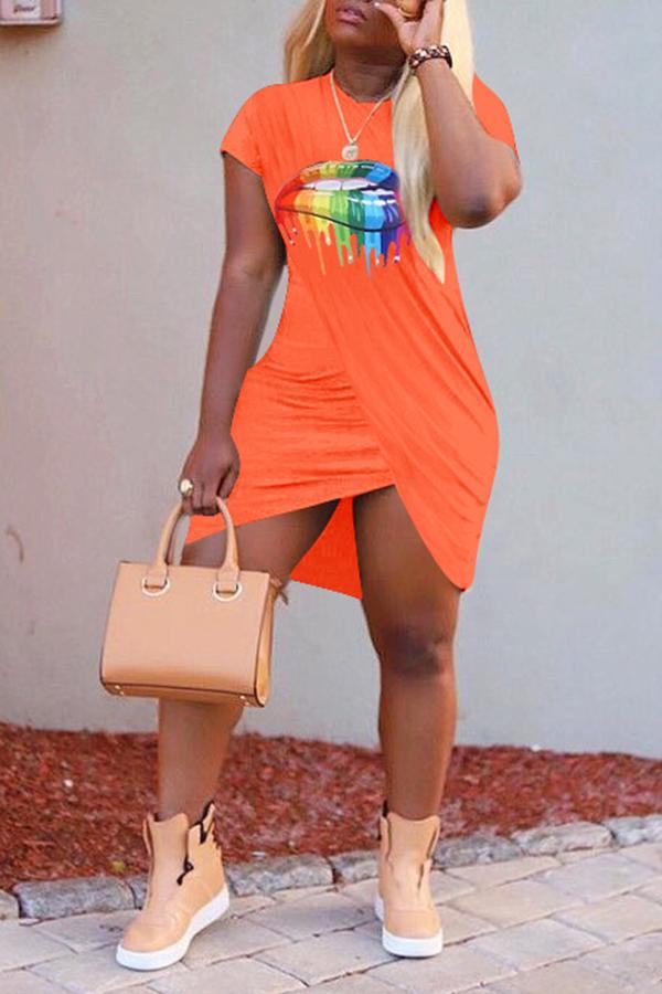 Lovely Casual Lip Printed Cross-over Design Croci Mini Dress